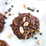 Healthy Chocolate Peanut Butter No Bake Cookies are a 7 ingredient 2 step recipe that can be made in one bowl without turning on the oven. This gluten free and vegan cookie is melt in your mouth good! | CatchingSeeds.com
