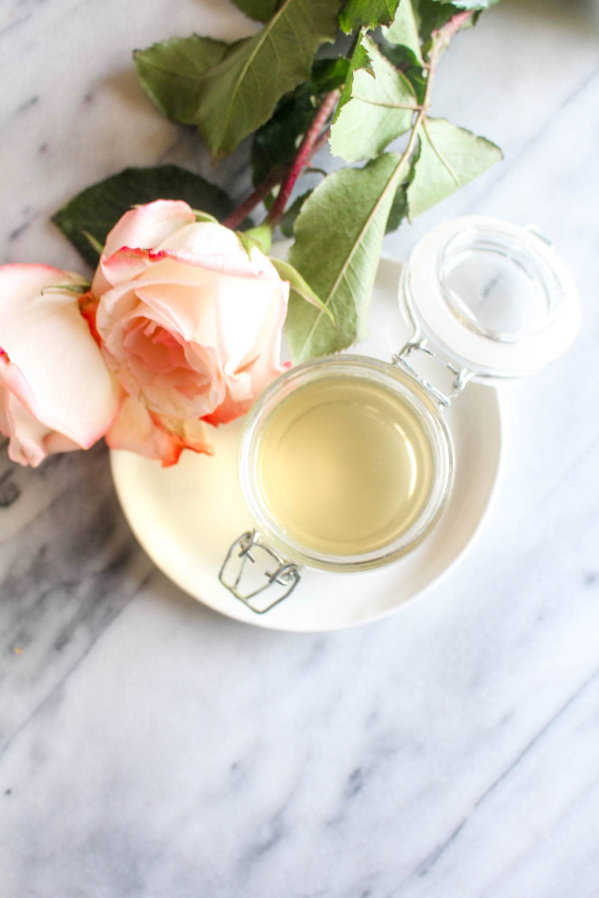 This easy recipe for homemade rosewater uses just 2 ingredients and takes 20 minutes! Use this rosewater toner as a facial mist to reduce redness, acne, and unclog pores. | CatchingSeeds.com
