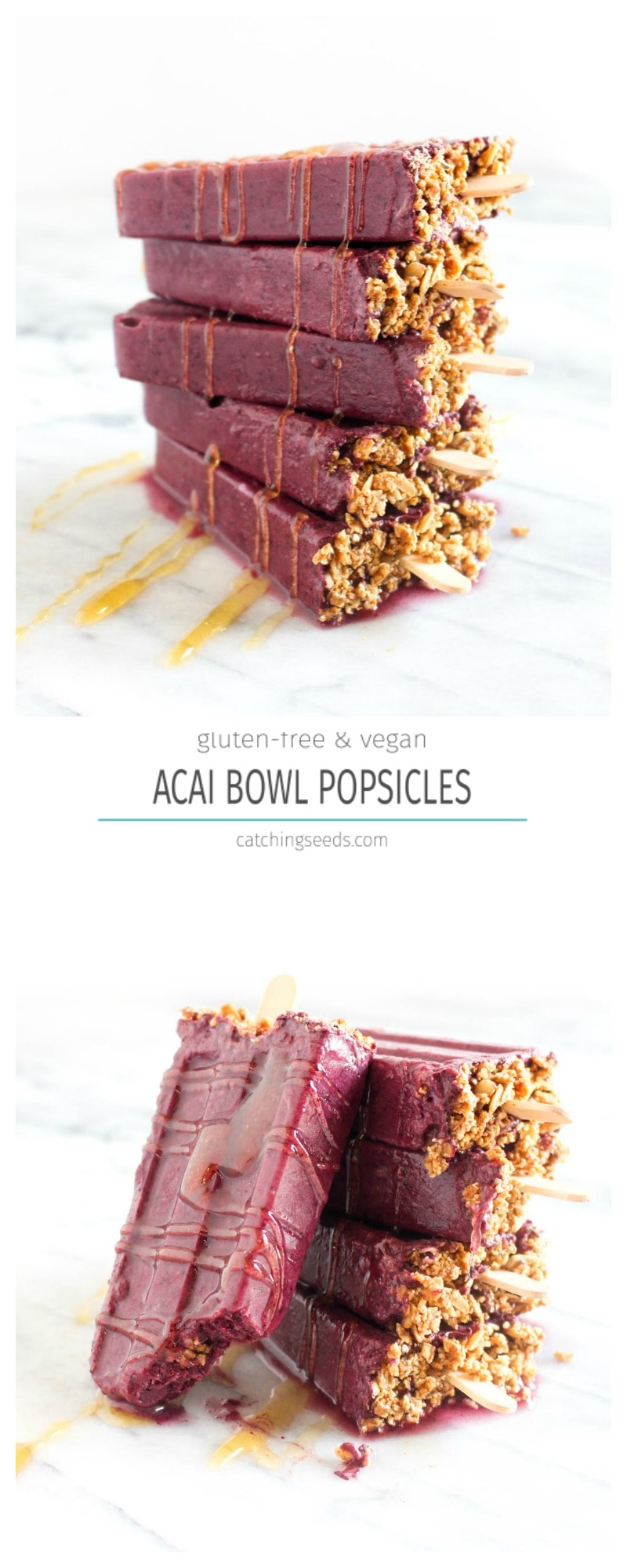 These Acai Bowl Popsicles are a 6 ingredient recipe that tastes like the tropics! Enjoy a healthy acai bowl anytime without having to clean the blender. | CatchingSeeds.com