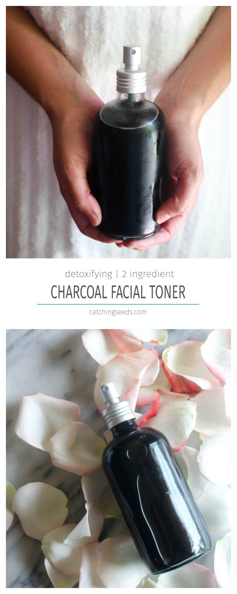 This simple 2 ingredientHomemade Charcoal Facial Toner will help to detox your skin! It benefits dry, oily, and acne prone skin types, and will leave you with a cleaner, clearer hydrated complexion. | CatchingSeeds.com