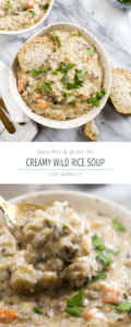 This Creamy Wild Rice Soup is every soup lovers dream! A creamy dairy free broth is filled with hearty wild rice and vegetables. | CatchingSeeds.com