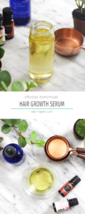 Easy DIY Hair Growth Serum will increase hair growth, thickness, and strengthen your strands! This simple homemade 5 ingredient recipe is non-toxic beauty at its finest. | CatchingSeeds.com