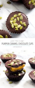 These Pumpkin Caramel Chocolate Cups are a simple no-bake Fall dessert recipe! Dark chocolate envelopes silky smooth pumpkin caramel.| CatchingSeeds.com