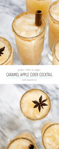 ThisSpiked Caramel Apple Cider Cocktail tastes like a caramel apple on a stick, but with a splash of rum for good measure! A homemade no-cook caramel sauce, made of dates, coconut milk, and spices, adds a real kick of Fall flavor! | CatchingSeeds.com