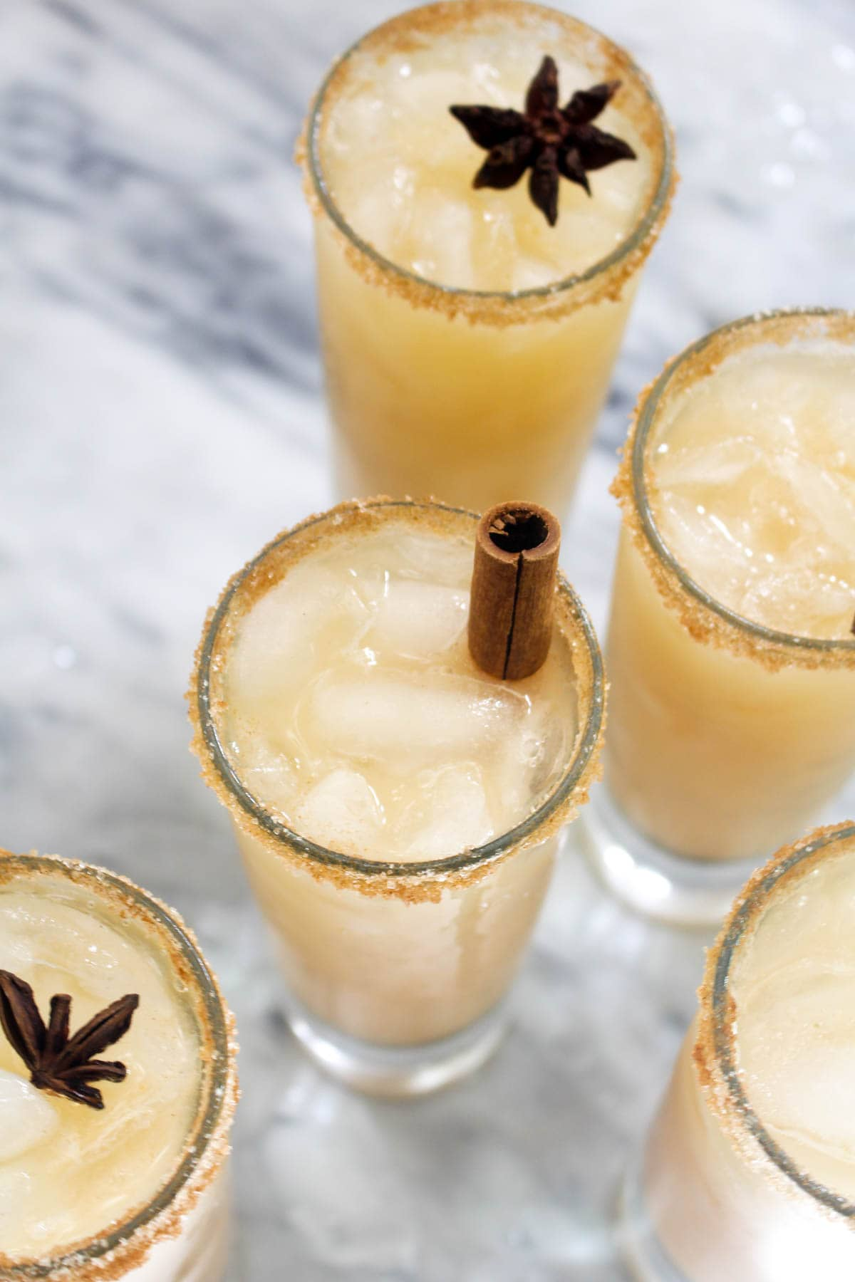 This Spiked Caramel Apple Cider Cocktail tastes like a caramel apple on a stick, but with a splash of rum for good measure! A homemade no-cook caramel sauce, made of dates, coconut milk, and spices, adds a real kick of Fall flavor! | CatchingSeeds.com