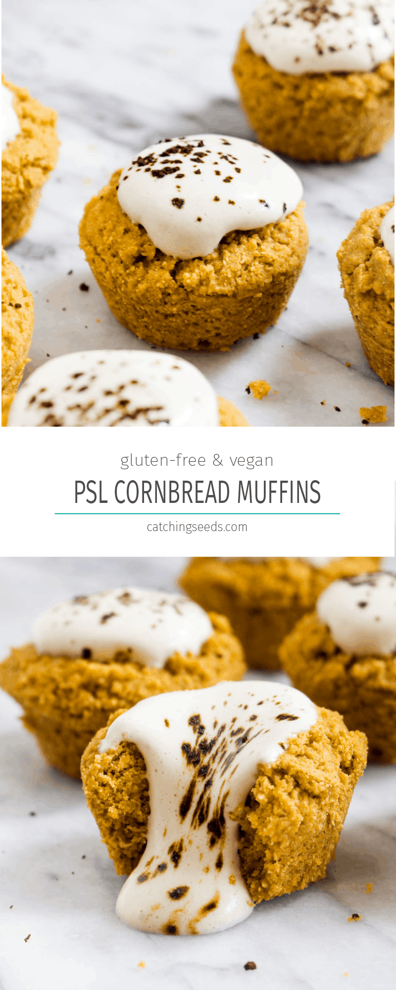 These Pumpkin Spice Latte Cornbread Muffins with Coffee Cream are a crazy twist on a classic PSL. This recipe has all the flavors in a sweet dessert form. | CatchingSeeds.com