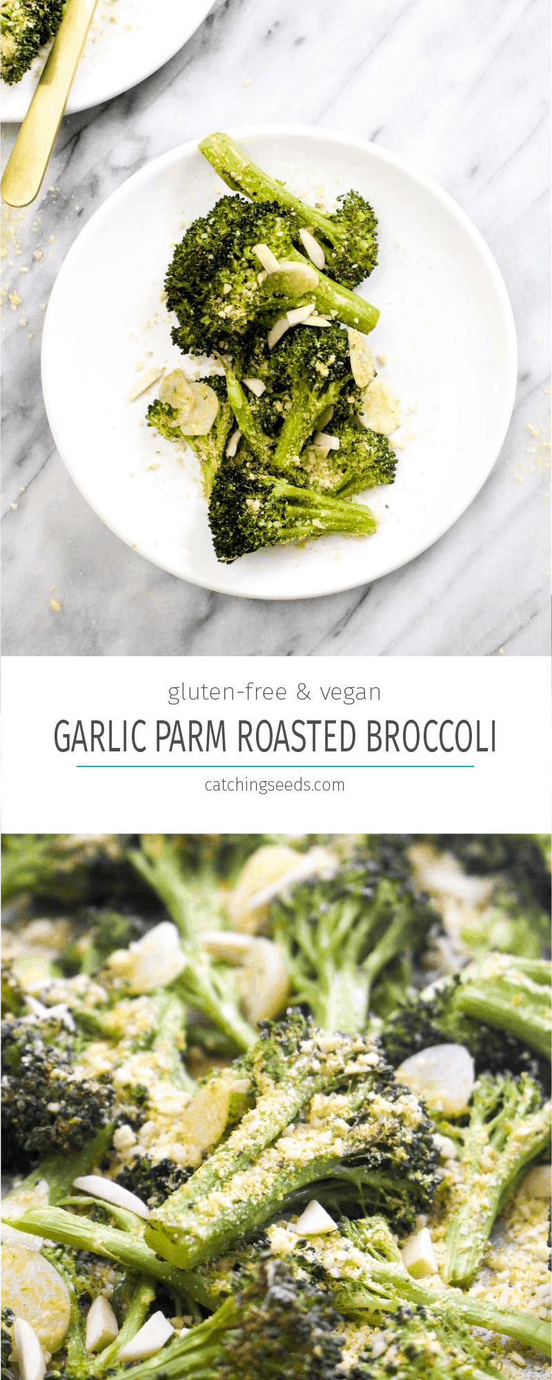 Parmesan Garlic Roasted Broccoli is a simple 4 ingredient healthy recipe that goes with any meal. The garlic flavor is unreal. And this side happens to be paleo, vegan, grain-free, gluten-free, dairy-free, and healthy to boot! | CatchingSeeds.com