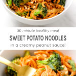 30 minute healthy meal sweet potato noodles in a creamy peanut sauce!