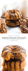 These Pumpkin Chocolate Chip Donuts are a secretly healthy dessert! They are gluten-free, vegan, and made with natural sweeteners.   CatchingSeeds.com