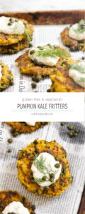 These Vegetarian Pumpkin Kale Fritters are an 8 ingredient recipe with extra crispy golden exteriors and creamy and warm interiors. The perfect side dish for any meal! | Catchingseeds.com