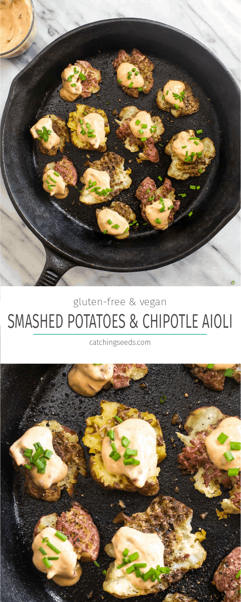 Smashed Potatoes with Chipotle Aioli are an easy 4 ingredient side recipe. Smashing the potatoes before roasting means more of those perfect crispy edges.This side is perfect for dinner or Thanksgiving! Grain-free and vegan, this is a Holiday crowd pleaser that everyone can enjoy! | CatchingSeeds.com