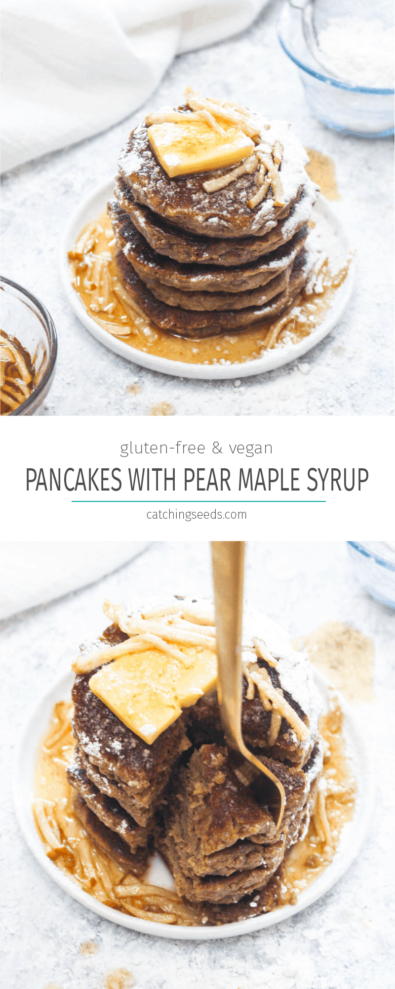 Cinnamon Pancakes with Pear Maple Syrup are a light and fluffy gluten free and vegan pancake recipe! This healthy breakfast gets smothered in a 10 minute holiday spiced syrup. Allergy friendly pancakes are hard to make! They are often gummy and flat, but this easy recipe uses a few secret ingredients to make perfect pancakes every time! | CatchingSeeds.com