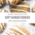 Gluten free and dairy free soft ginger cookies with eggnog glaze!