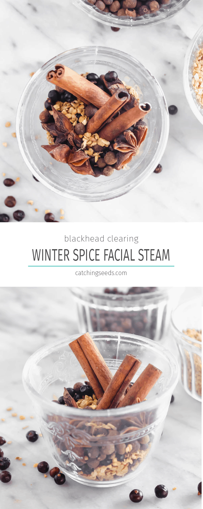 Winter Spice Facial Steam is a 5 ingredient beauty recipe that can unclog pores and get rid of blackheads while smelling and feeling like a spa relaxing experience. | CatchingSeeds.com