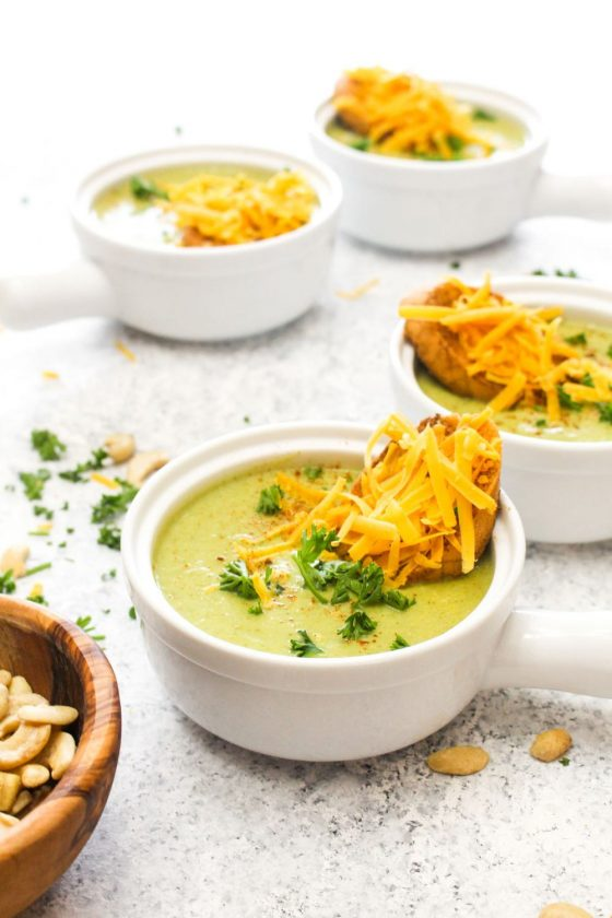 Detox Broccoli Cheese Soup with Vegan Cheddar Toasts