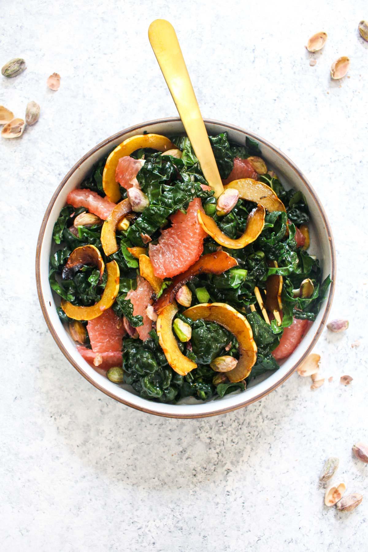 Winter Kale Salad Recipe With Grapefruit Balsamic Delicata Squash