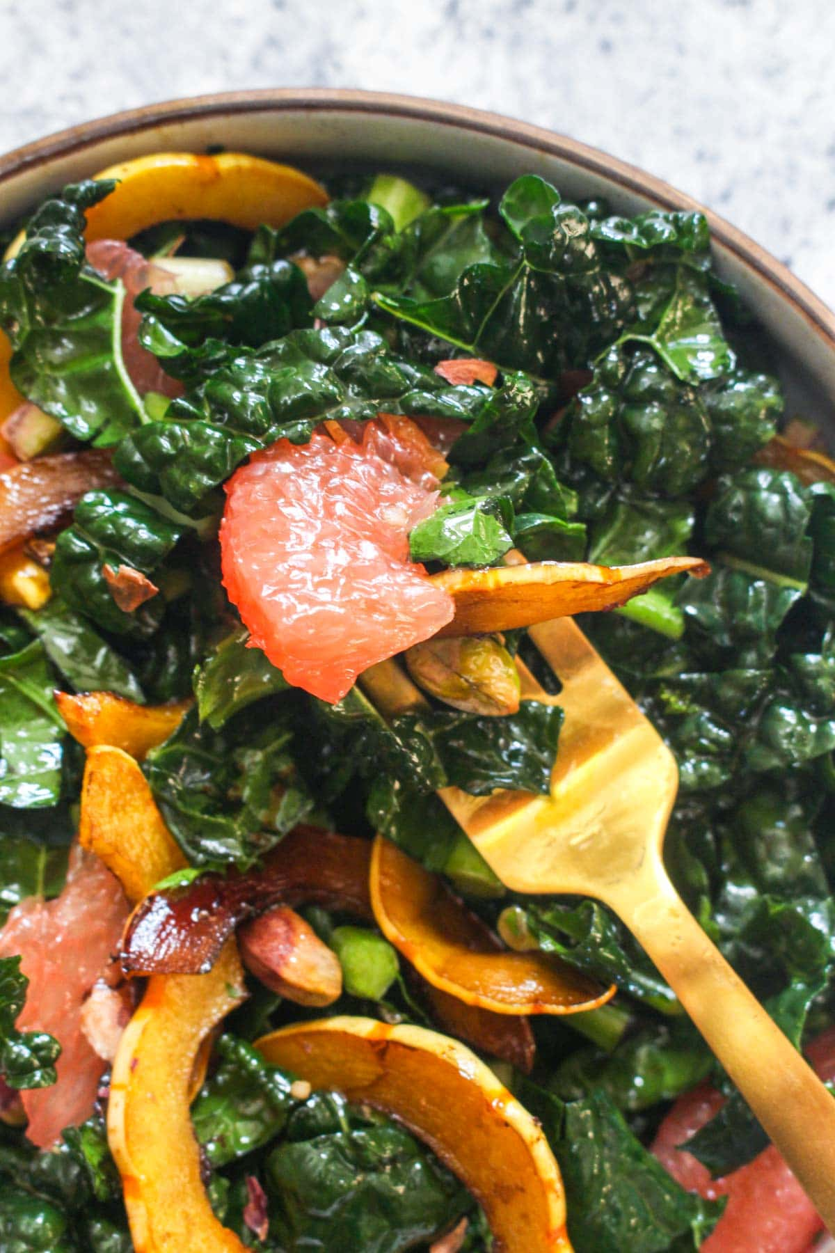 This Winter Kale Salad Recipe is loaded with fresh seasonal flavors! Grapefruit, balsamic delicata squash, pistachios, and a zippy dressing are combined in this healthy and fresh side dish. Easy to make and ready in 30 minutes! Paleo, gluten free, dairy free, vegan, and grain free! | CatchingSededs.com