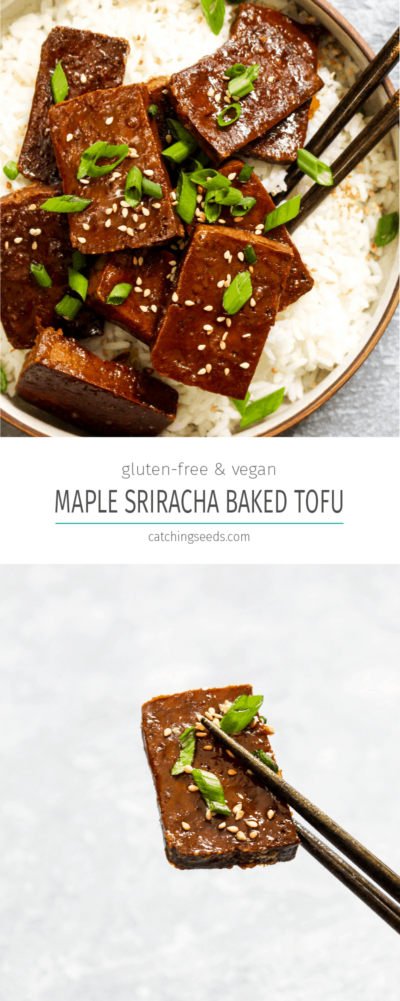 Four ingredientMaple Sriracha Baked Tofu is full of sweet, sticky, and spicy flavor. Marinading the tofu and basting it with a concentrated glaze while it bakes ensures this recipe is loaded with flavor! Vegan, gluten free, grain free, soy free and healthy! | CatchingSeeds.com