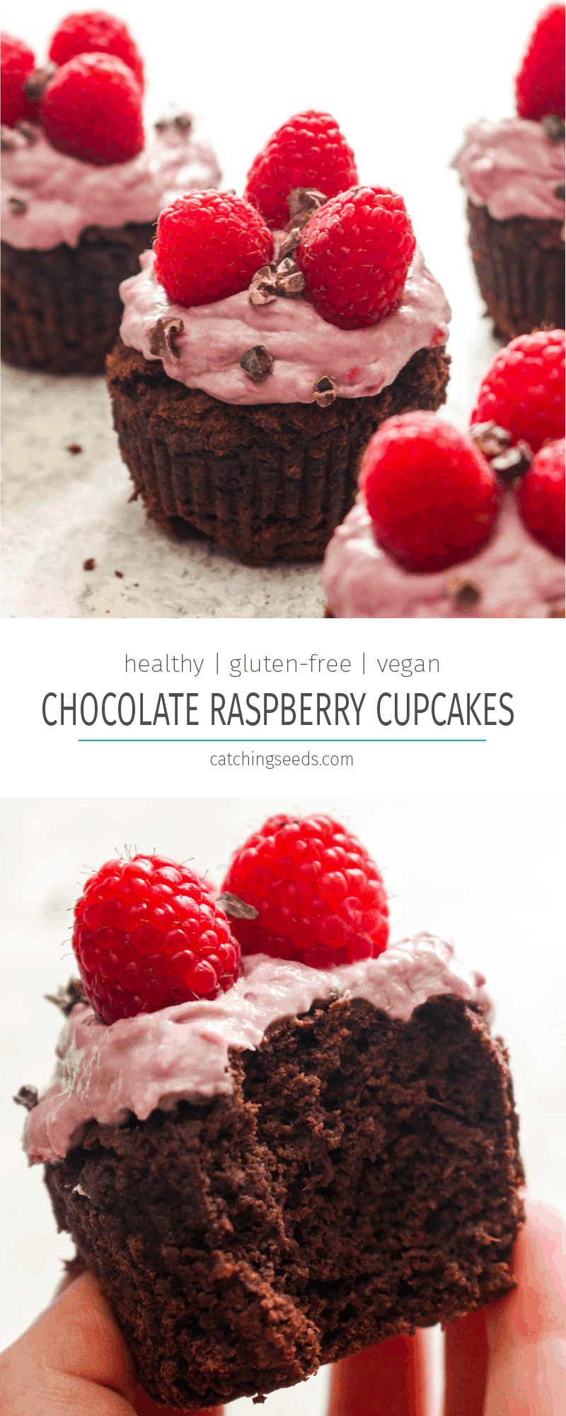 These Healthy Chocolate Raspberry Cupcakes are a valentine's day dream come true!  Rich gluten-free vegan chocolate cupcakes are smothered in a frosting made from fresh raspberries. The perfect fruity and chocolaty dessert! | CatchingSeeds.com