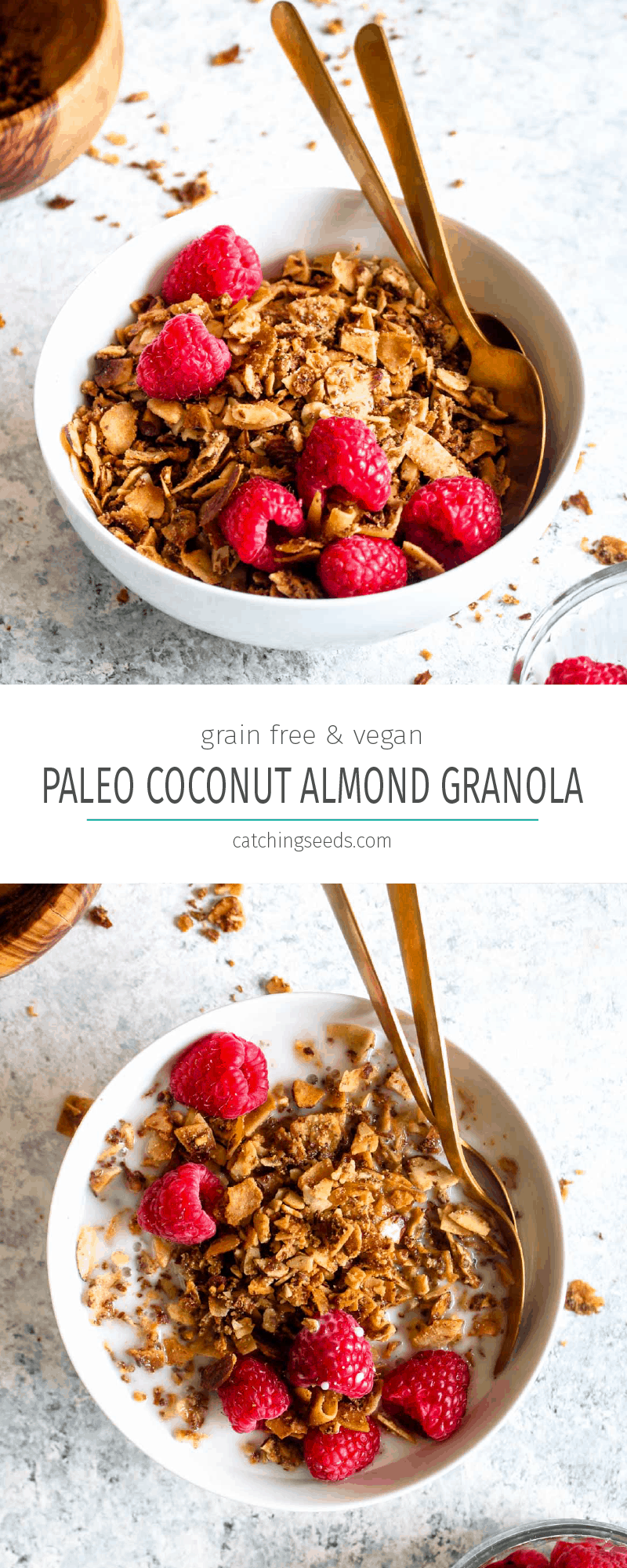 Paleo Coconut Almond Granola is a 20 minute breakfast recipe that is so good, it will make you into a morning person! 8 healthy ingredients are all you need for this easy, grain-free, and vegan recipe. Use it to top yogurt and smoothies at brunch, or eat it as a cereal. | CatcingSeeds.com