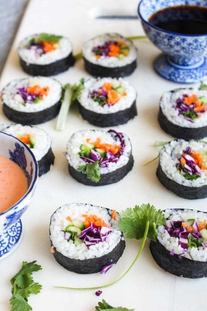 Vegan sushi on a marble board.