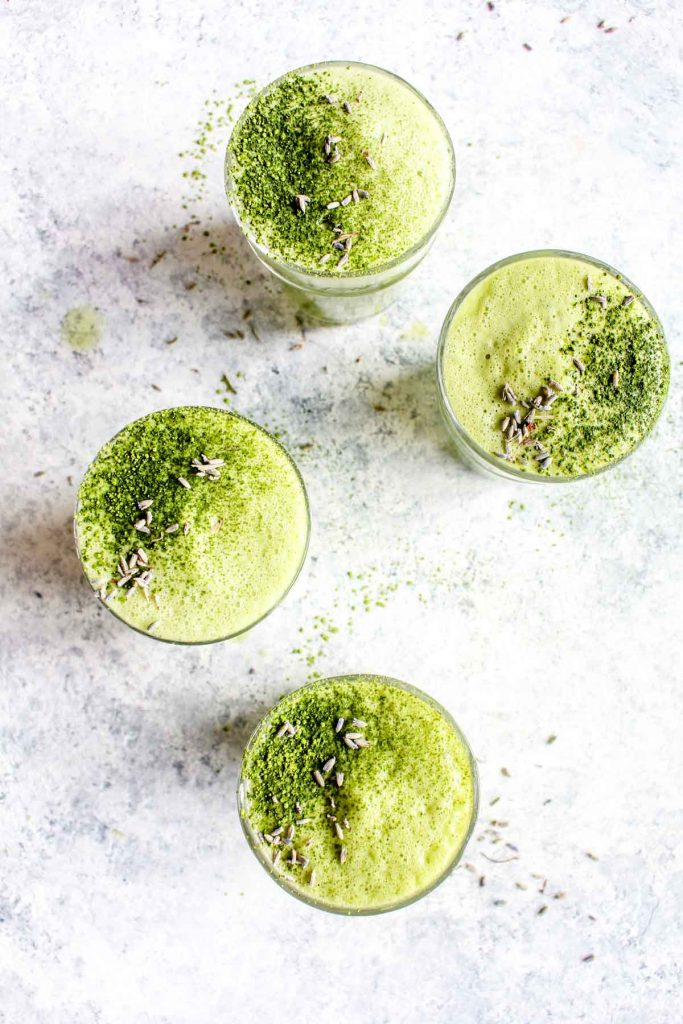 This Lavender Matcha Latte is infused with lavender for spring flavor! This 10 minute drink couldn't be any easier to make and you'll love that it's naturally sweetened with honey and is also dairy-free. | CatchingSeeds.com