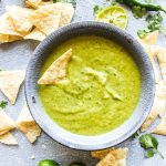 Cilantro Salsa Verde is surprisingly easy to make at home! This popular dip requires just 3 steps, and is packed with so much more flavor that the jarred stuff. | CatchingSeeds.com