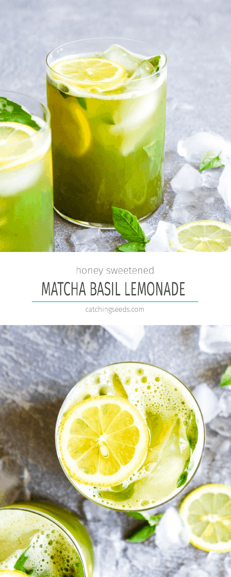 10 minute Matcha Basil Lemonade is a refreshing summer drink sweetened with honey! This healthy beverage is paleo and full of antioxidants. | CatchingSeeds.com