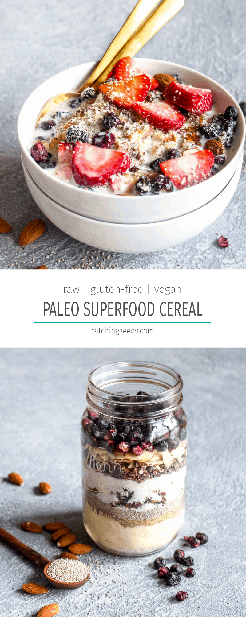 On busy mornings, you'll be thanking your lucky start that you have Paleo Raw Superfood Cereal on deck. This healthy breakfast is packed full of nuts, seeds, and fruits for a satisfying start that will keep you full until lunch. Make a big batch in 10 minutes and then enjoy it all week. Gluten free, vegan & paleo! | CatchingSeeds.com