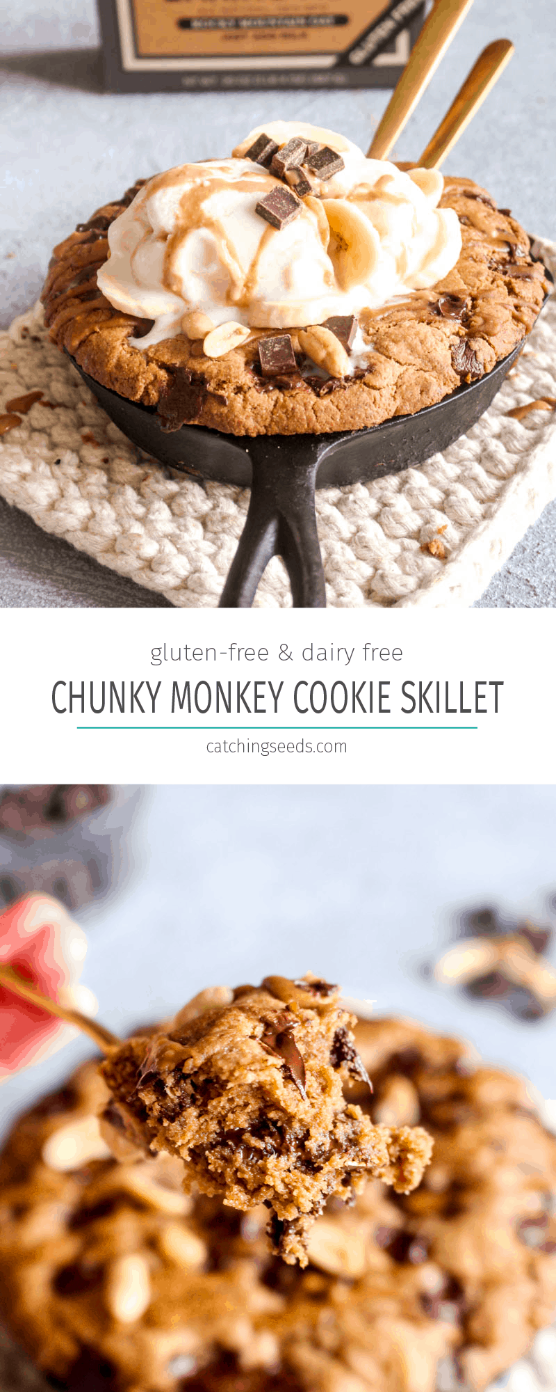 This Protein Packed Chunky Monkey Cookie Skillet recipe is full of peanut butter, banana, and chocolate flavor! This gluten free and dairy-free dessert is baked until the edges are golden and the center is like warm cookie dough. | CatchingSeeds.com