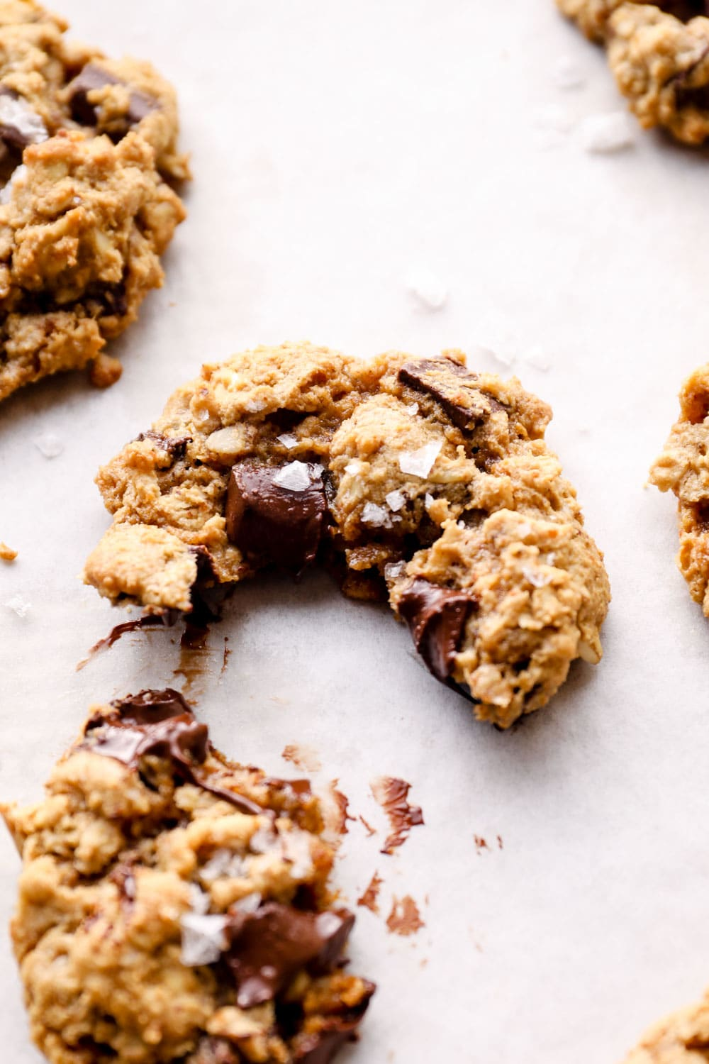 A bite out of a chocolate chip oatmeal cookie.