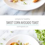 Collage of two photos of toasted bread with mashed avocado, corn, and sprouts.