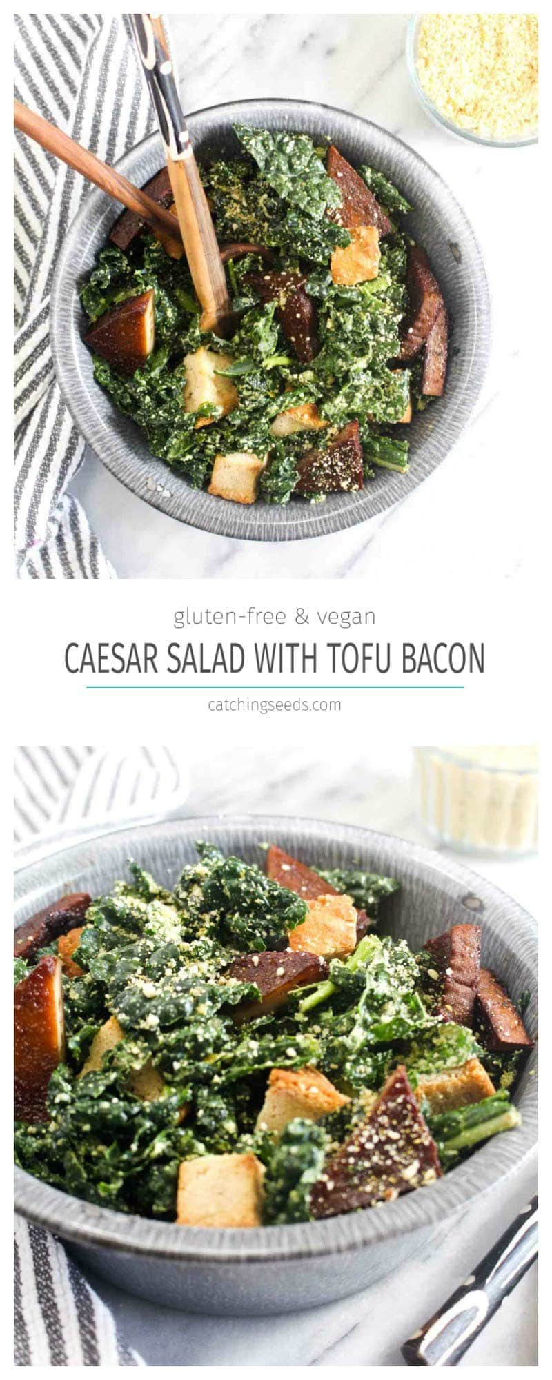 A collage of Kale Caesar Salad in a bowl with salad tongs garnished with vegan parmesan cheese, croutons, and baked tofu with a striped towel.