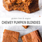 Gluten free and vegan chewy pumpkin blondies.