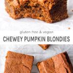 Gluten free and vegan chewy pumpkin blondies.