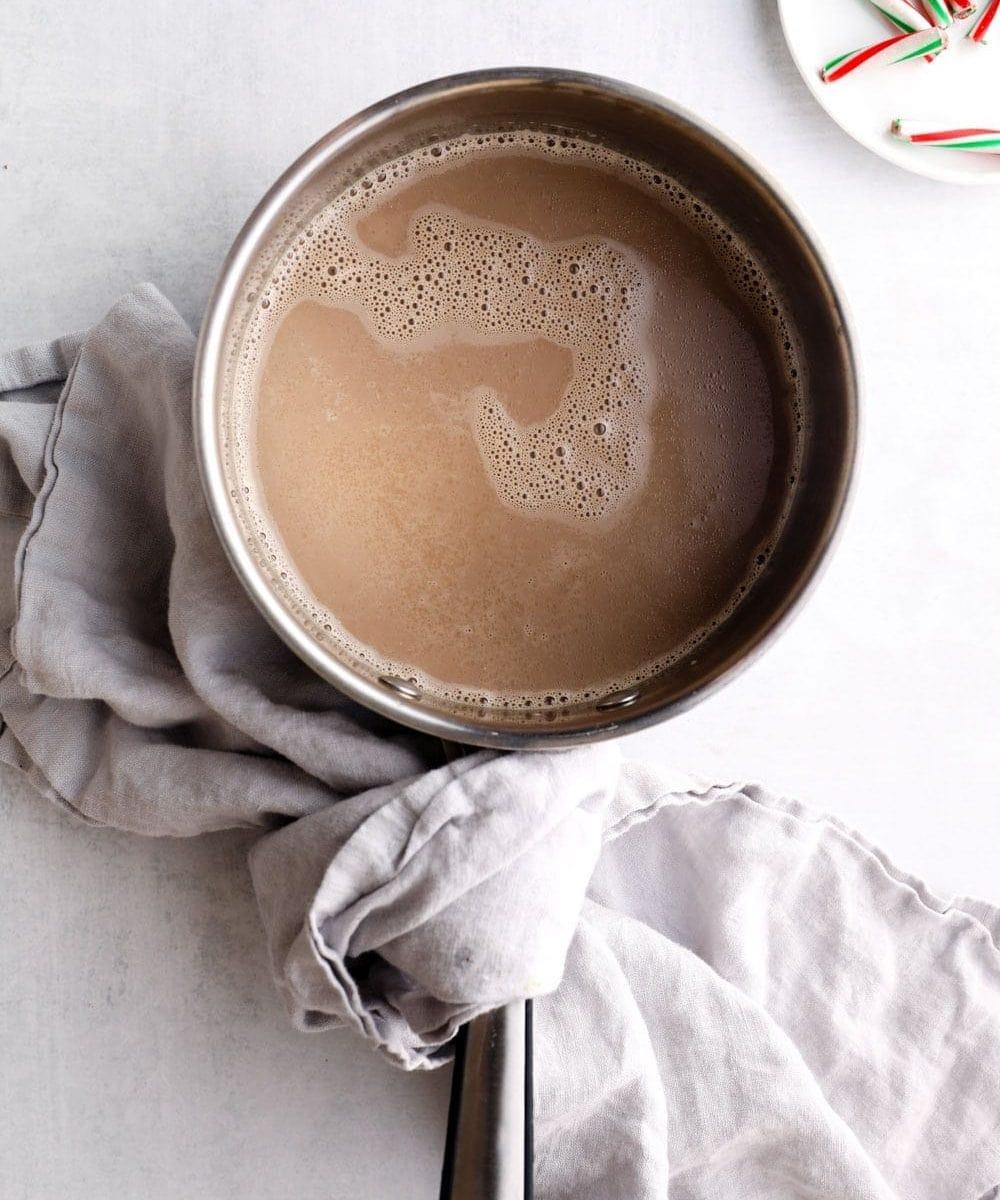Peppermint mocha in a saucepan.