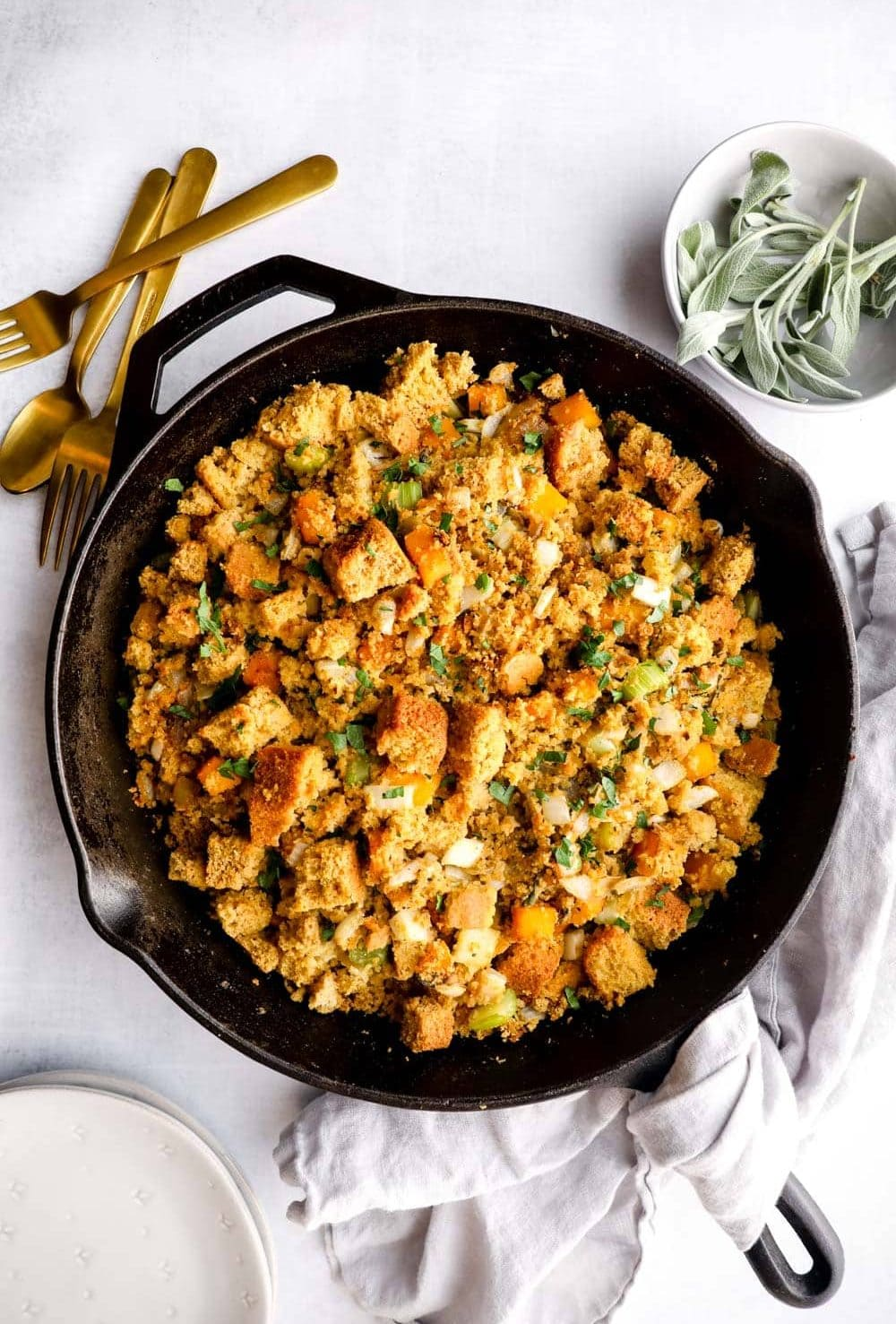 Gluten Free Cornbread Stuffing with butternut squash and thyme.