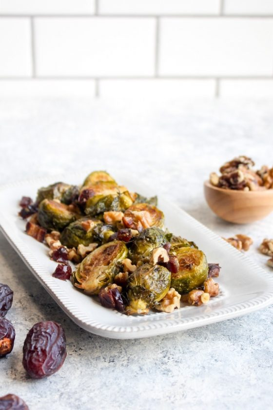 Roasted Brussels Sprouts with Dates and Walnuts