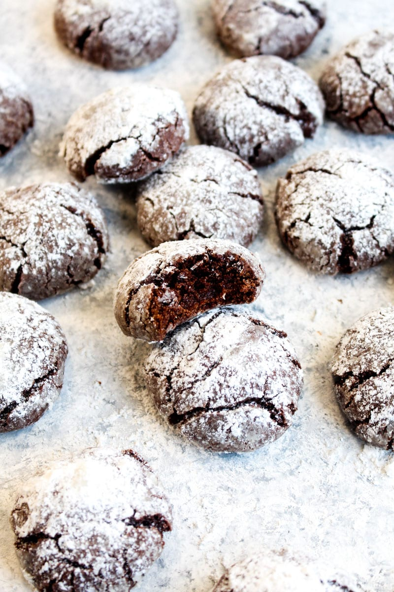 A dozen gluten free peppermint mocha crinkle cookies dusted with powdered sugar on a white background, one with a bite out of it.