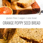 Slices of gluten free orange poppy seed bread on a wood cutting board with halved oranges.