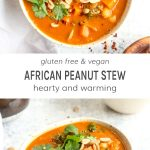 Two bowls of African peanut stew topped with cilantro and peanuts.