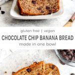 A slice and a load of gluten free vegan chocolate chip banana bread on a grey background.
