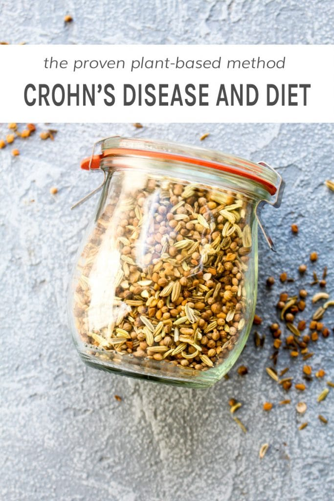 A jar full of herbs which has to do with Crohn's disease and diet.