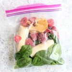 Peanut butter strawberry banana freezer smoothie packs.