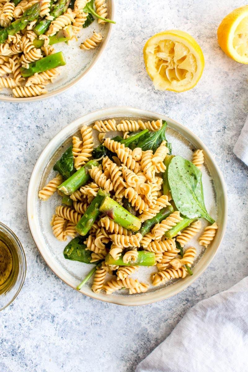 A plate of lemon asparagus pasta salad.
