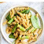 Protein packed, vegan, gluten free lemon asparagus pasta salad.
