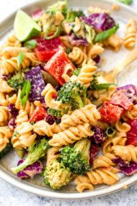 A close up look at creamy chipotle pasta salad.