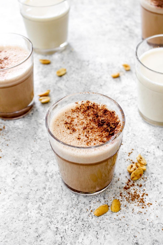 5 glasses of chocolate peanut milk.