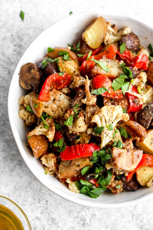 A closeup look at Marinated Vegetable Salad.