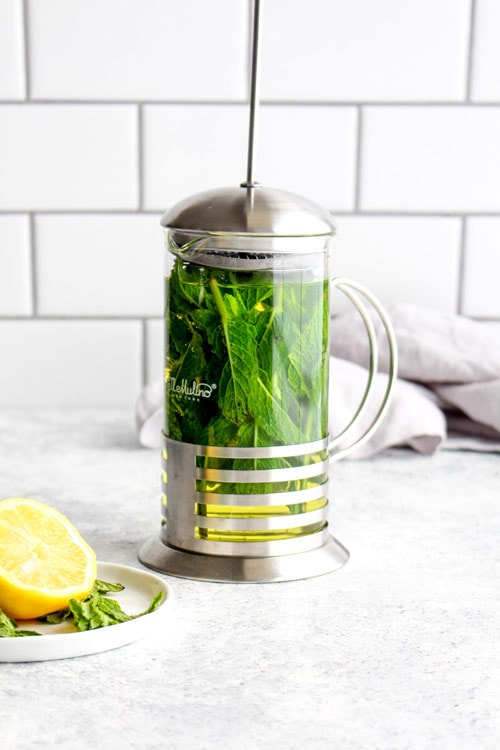 Mint leaves and water in a french press